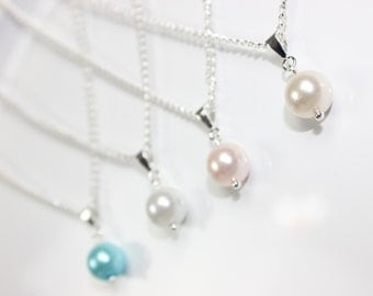 Bridesmaid Pearl Necklace, Bridesmaid Jewelry, Bridesmaid Gift, Wedding Jewelry, Single Pearl Necklace, Pick Your Own Color