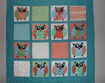 Children's Quilt: Modern Owls