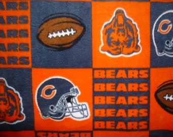 "Children/ Toddler Sized Chicago Bears No Sew Fleece Blanket with your choice of Back- 1 yard (36"" x 60"")- NFL Football Lap Blanket Pet Bed"