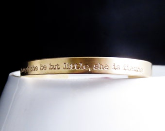 Gold Handstamped Bangle, Personalized Wording Names Dates, Custom Design Your Own, Quote Phrase