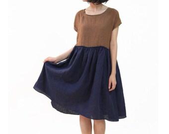 Simple Dress Brown Womens Dresses Loose Summer Japanese Dresses