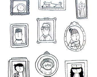 Family Portraits, Limited edition hand-pulled Screenprint A3