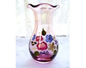 Cottage Chic Blown Amethyst Purple Art Glass Ruffled Vase French Country Hand Painted Flowers Country Garden