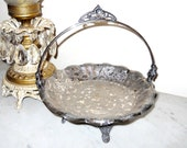 French Country Antique1890s James W Tufts Silver Footed Bridal Basket Victorian Ornate Aesthetic Birds Quadruple Plate Ornamental
