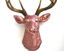 LITE BRONZE-Nat. Faux Taxidermy Deer Head wall mount hanging decor in light bronze with natural-looking antlers:  Deerman The Deer Headr