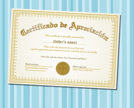 Items Similar To Father S Day Certificate Of Appreciation