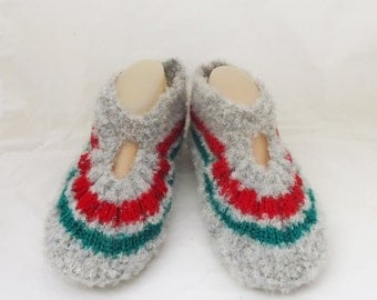 Knitted Socks / Slippers in Grey, Red and Green, Hand Knitted Women Winter Home Socks / Slippers, UK Seller