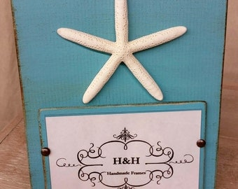 Handmade Picture Frame - Turquoise aged finish with white starfish.