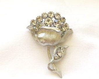 Big Bold Beautiful Vintage silver flower clear rhinestones flower brooch / pin floral art