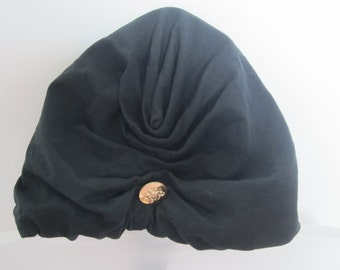 70s Black Turban Hat
