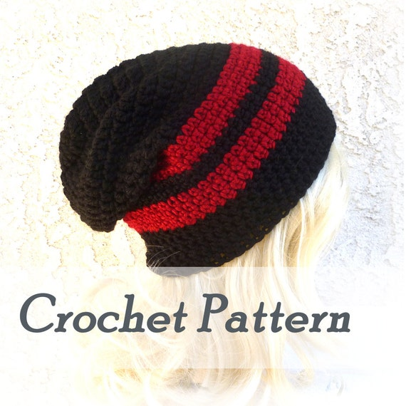 Crochet Pattern Slouchy Beanie Mens Beanie Hat Beginner hat Crocheted ...