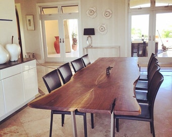live edge black walnut dining table custom brushed stainless steel legs modern design