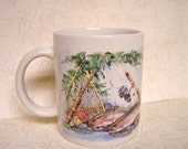 Handmade Fishing Mug, Painted Porcelain Coffee Cup, China Painted Mug, Fishing Scene Mug, Coffee Mug, MATGOFG