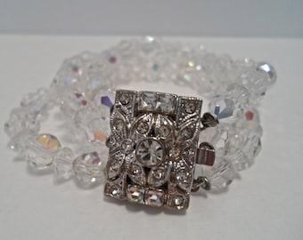Vintage Aurora Borealis Crystal Bead Bracelet Rhinestone Bracelet Triple Crystal Bracelet 1950s Jewelry Crystal Jewelry
