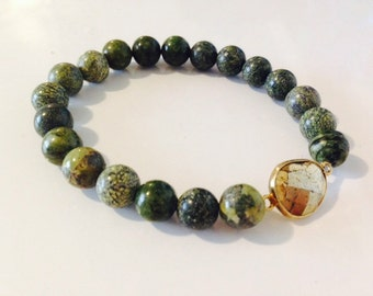 Russian Serpentine and Gold Pyrite Bracelet