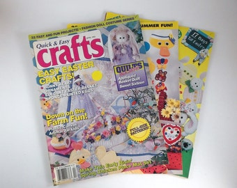 Vintage Crafts Magazines 1993 1995 Issues Set of Three Magazines Full Size Patterns Craft Books Hobby Magazine Tutorial Books Supplies