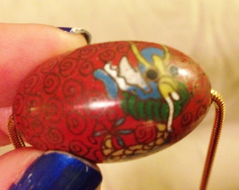 Vintage Chinese Cloisonne bead with chain.