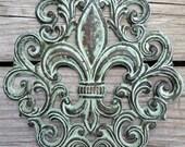 Cast Iron Fleur de Lis Wall Plaque - Cast Iron Wall Decor - Fleur de Lis Sign Hanging - Cast Iron Wall Art - Housewarming Gift - Wall Decor