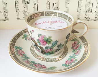 Small Oriental Floral Teacup Candle