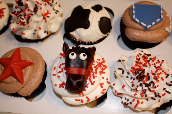 COWBOY / HORSE  -  Fondant Cupcake, and Cookie Toppers - 1 Dozen