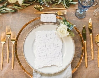 Romantic Place Cards with Calligraphy by Wedding Calligrapher