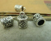 20PCS antique silver 8x13mm tube Bead Tassel Caps Cord Ends with pattern- WC4266