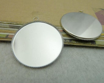 10PCS nickel 30mm pendant trays round jagged edged cabochon mountings- W6349