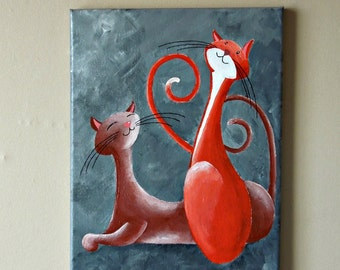 "Original Fantasy Cat Acrylic Painting for Sale ""Two Proud Cats"""