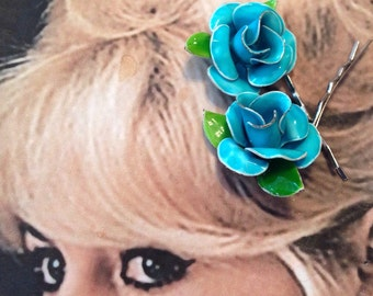 Decorative Hair Pins 1960 1970 Turquoise Blue Enamel Rose Hairpins Bobby Pins