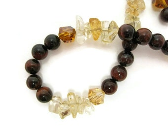 Red Tiger Eye beaded bracelet citrine semiprecious gemstone cube crystal antique silver copper and yellow
