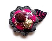 Felt Flower Pin Brooch for Women Jewelry Re-purposed Fuschia Grey Purple Silver Heart