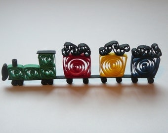 Paper Quilled Train Embellishment For Card Making and Scrapbooking