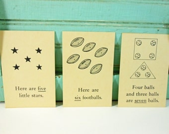 Vintage Picture Sentence Word Flashcards 1958 Set of 3 Five Six Seven