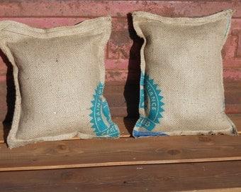 Burlap pillows made from authentic burlap bag