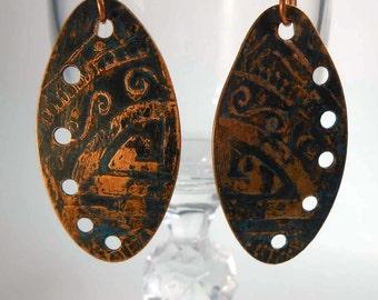 READY to SHIP Flourish Handmade Copper Earrings CPE93