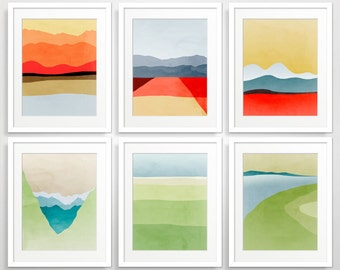 Mid Century Modern Wall Art Set, Abstract Landcsape Art Prints, Abstract Art, Modern Art Print, Fine Art Prints, Modern Abstract