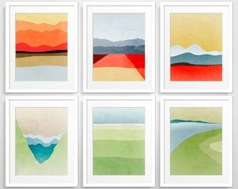 Mid Century Modern Wall Art Set, Abstract Landcsape Art Prints, Abstract Art, Modern Art Print, Fine Art Prints, Modern Abstract