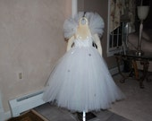 Beautiful Ice Princess Dress with detachable white tutu collar with silver glitter snowflakes