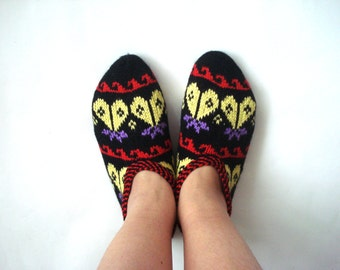 knitted slippers, womens slippers, red yellow black Turkish Slippers, knit socks, home shoes, Christmas mothers day womans gifts for her