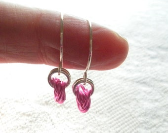 Bright Pink Chain Mail Earrings, Chainmaille Jewelry, Handmade Artisan Ear Wires, Open Hoop Earrings, Mobius Roses, Perfect Gift for Her
