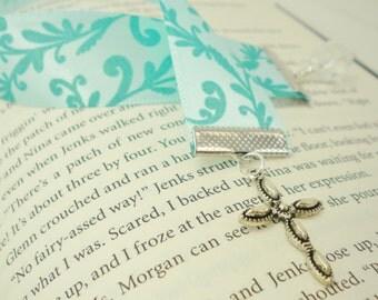 Aqua Flocked Ribbon Cross Bookmark / Gifts under 10 / Stocking Stuffers
