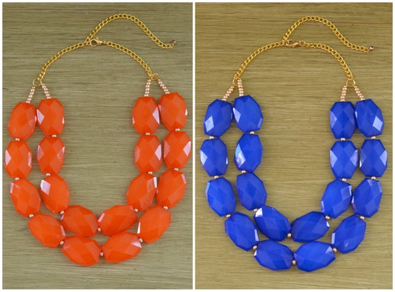 Auburn Necklace - Virginia State Necklace - University of Florida Gators Jewelry - Orange and Blue Statement Necklace - Auburn Jewelry Gift