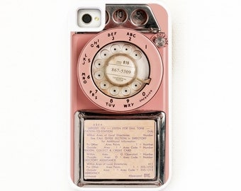 iPhone 4 Case. iPhone 4S Case. Vintage Pink Payphone. Silicone Lined. Phone Case. iPhone Case. Phone Cases.