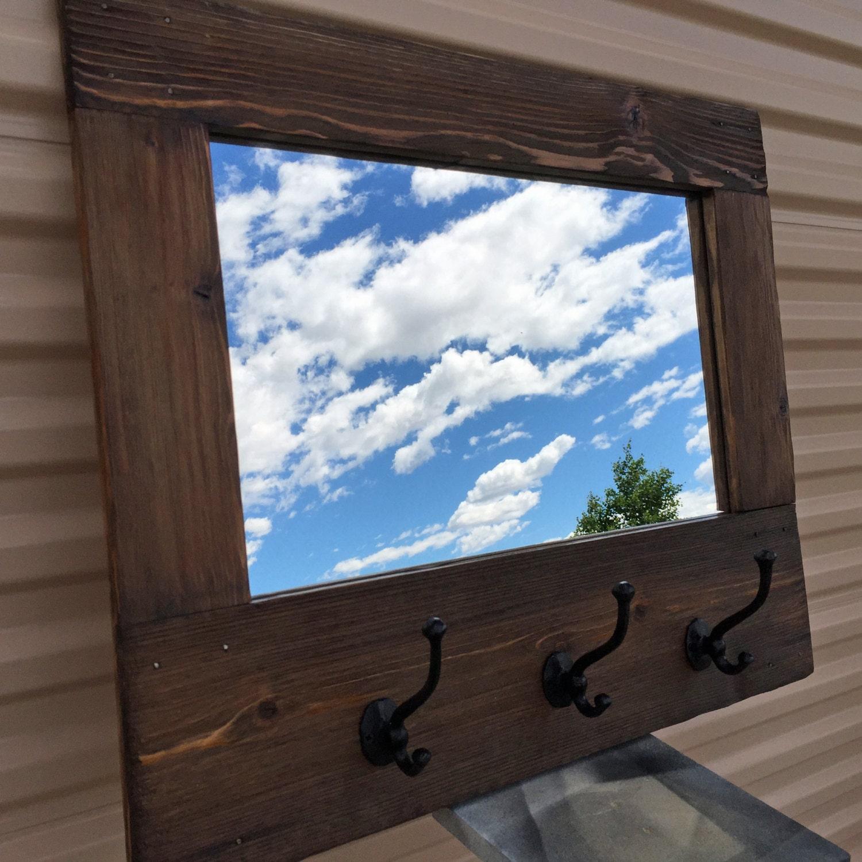 Bois de grange style miroir porte manteau rustique miroir au for Miroir bois de grange