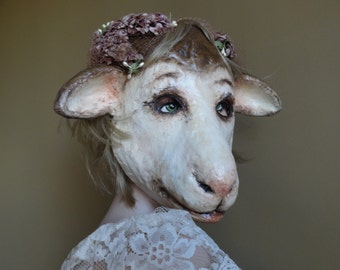 So in Love Papier mache sheep mask sheep costume lamb mask lamb costume
