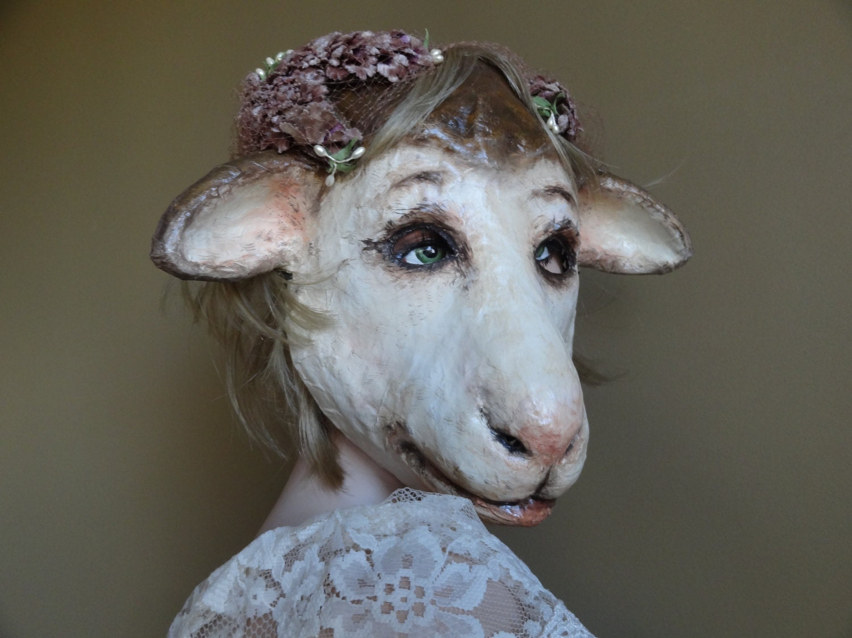 So in love papier mache sheep mask sheep costume lamb mask for Paper mache mash
