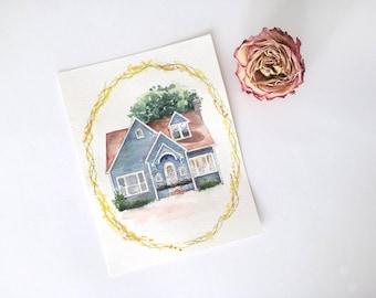 Personalized Home Portrait Painting Illustration - Custom Watercolor House Illustration - Home Portrait