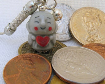 Love Monk Porcelain Phone/Handbag Charm with Silver Braided Strap/Lanyard and Bell