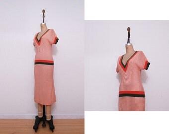 1970s knit orange striped sweater dress | Vintage 70s green orange wool dress