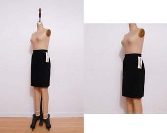 1980s black leather skirt | Vintage 80s suede high waist pencil skirt